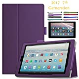 EpicGadget Amazon Fire HD 10'' Case (2017) With Auto Sleep/Wake, Fire HD 10 7th Gen Stand Lightweight Cover PU Leather Case For 2017 Fire HD 10 + 1 Screen Protector and 1 Stylus (Purple)