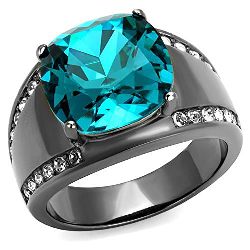 Women's Light Black Stainless Steel 7.2 Ct Blue Zircon Crystal Cocktail Ring Size ()