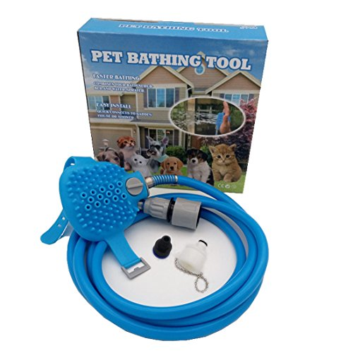 HomeYoo Pet Bathing Kit Tool, Shower Sprayer for dog, Multi-functional Pet Wash Attachment applicable for bathtub grooming, dog cat indoor and outdoor Clean Massager (2.5m, - Grooming Tools Package
