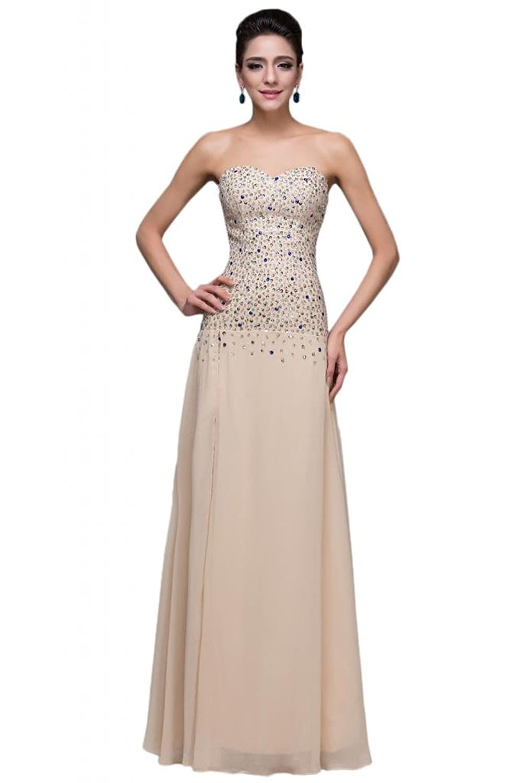 Sunvary Rhinestone Champagne Chiffon Evening Prom Dresses for Women 2014