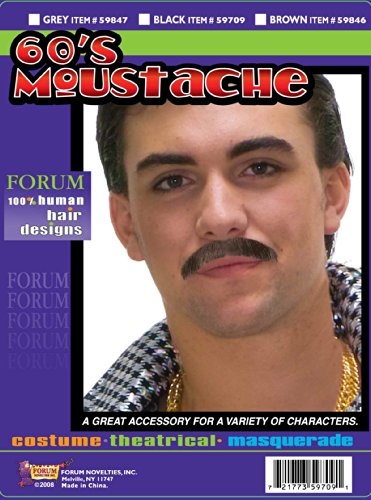 [Forum Novelties Men's Theatrical Disguise 60's Mustache, Gray, One Size] (Brown Mustache And Beard Costume)