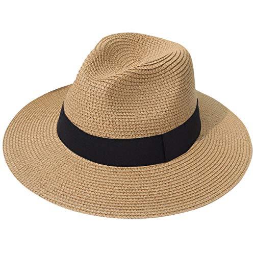 Lanzom Women Wide Brim Straw Panama Roll up Hat Fedora Beach Sun Hat UPF50+ (A-Brown 1)]()
