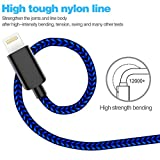 TNSO Phone Cable 5Pack (3/3/6/6/10FT) Nylon Braided USB Charging & Syncing Cord Compatible Phone X/8/8 Plus/7/7 Plus/6s/6s Plus/SE/Pad Nano-Black and Blue