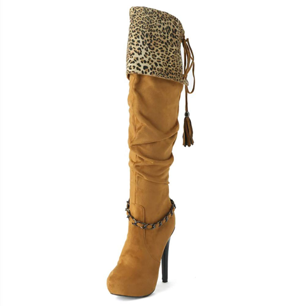 - Original Intention Women's Knee High Boots Heels Boots Winter Brown Big Size shoes Women