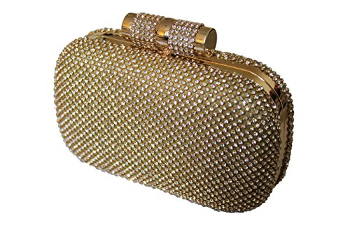Bolsa grande de Bling Diamante Diamante cristal noche embrague bolso fiesta Prom dorado