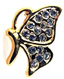 Gold Plated Rhinestone Crystal Butterfly Tie Tack Hat Lapel Pin