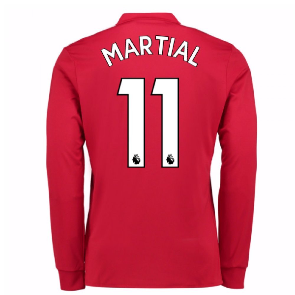 2017-2018 Man United Long Sleeve Home Football Soccer T-Shirt Trikot (Anthony Martial 11)
