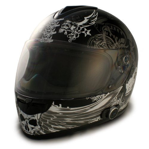 VCAN Blinc 136 Full Face Helmet with Dark Angel Graphics (Flat Black, Large)
