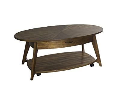 Oval Coffee Table With Shelf.Amazon Com Modern Coffee Table In Oval Shape With Casters One