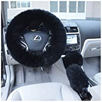 "Uarter Winter Warm Faux Wool Steering Wheel Cover with Handrake Cover & Gear Shift Cover for 14.96"" X 14.96"" Steeling Wheel in Diameter 3 Pcs 1 Set"
