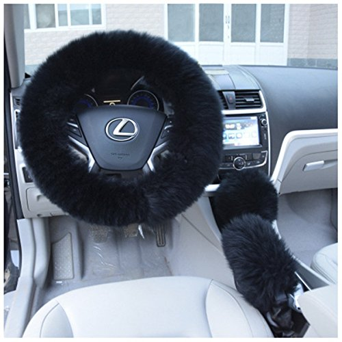 Uarter Winter Warm Faux Wool Steering Wheel Cover with Handrake Cover & Gear Shift Cover for 14.96