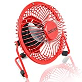 "PC Hardware : O2COOL 4"" USB Personal Desk Fan – Portable Mini Table Cooling Fan - Plugs into Computer - Adjustable 360° Tilt, Quiet, Rubber Grip Feet - Red"