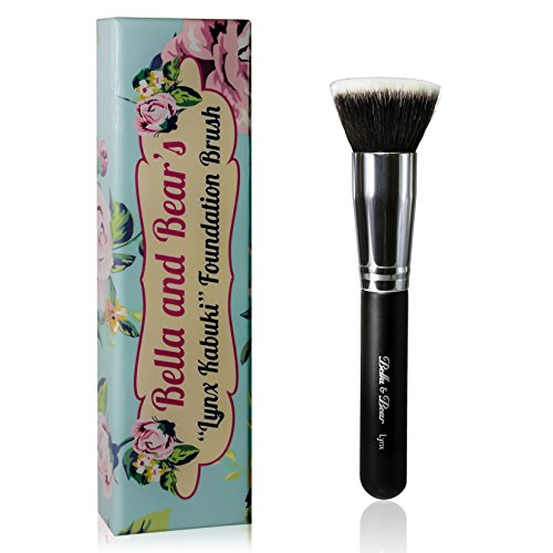 Elf Bear - Foundation Brush - Kabuki - Our Professional Flat Stippling Brush Works with Liquid - Mineral and Powder Foundation