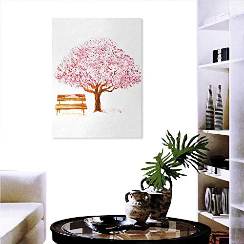 """familytaste Nature Customizable Wall Stickers Watercolor Blooming Cherry Tree in The Park with Wooden Bench Floral Artwork Print Wall Decoration 16""""x20"""" Pink Brown"""