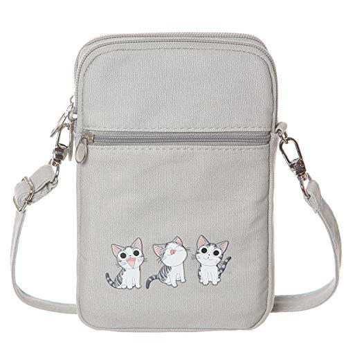 AOCINA Girl Small Crossbody Cell Phone Purse Wallet Cute Canvas Mini Crossbody Bags(Grey-Three Cat)