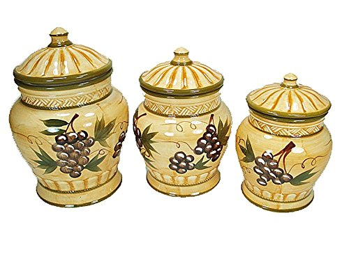 (D'Lusso Designs 9100 Three Piece Canister Set Grape Design)