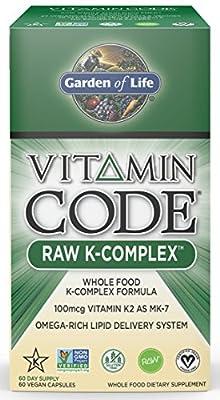 Garden of Life Raw Vitamin K Supplement - Vitamin Code K Complex Whole Food Vitamin, Vegan, 60 Capsules