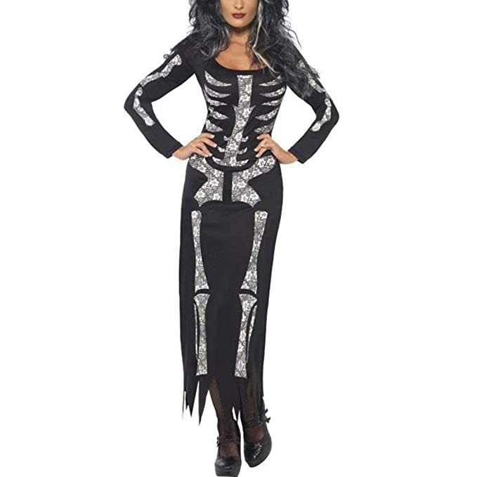 OverDose mujer De Halloween Fantasma Festival Horror Esqueleto Borla Novedad Disfraz Fiesta Vestido Largo