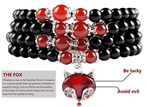 Green Obsidian - eHarbour Multilayer Black Obsidian Red Agate Beads Buddhist Prayer Wrap Bracelet