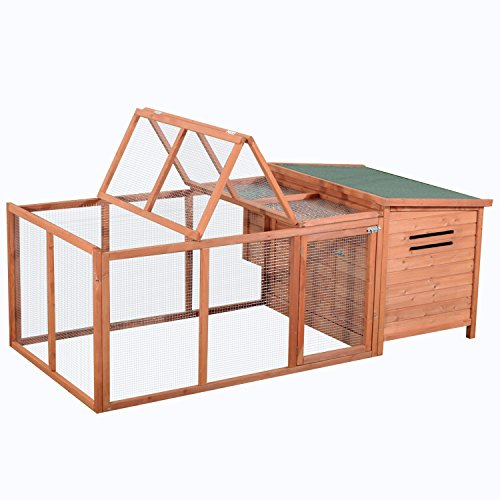 PawHut 87quot Deluxe Wooden Backyard Chicken Coop with Large Outdoor Run and Nesting Box