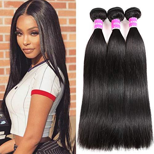 Encii Hair 10A Brazilian Straight Hair 14 16 18 Unprocessed Brazilian Weave Hair Human Bundles Natural Black Color Total 300g