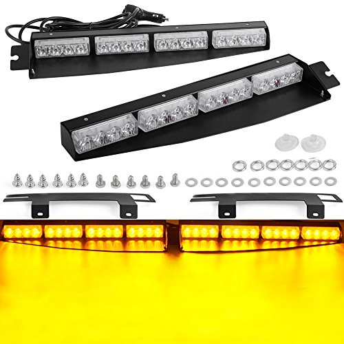 - Amber Visors Lights YITAMOTOR 2-16 LED 96W 15 Flash Patterns Emergency Car Truck Beacon Light Bar Exclusive Split Visor Deck Dash Strobe Warning Light Bar