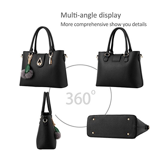Nicole Shoulder Women PU PCS Handbag Totes Leather 3 Crossbody Fashion Black Black Bag Soft amp;Doris Bag Messenger nO0Yrwgq0