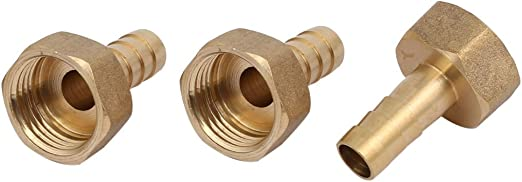 sourcing map 10 mm 2 unidades adaptador de tubo de rosca hembra G1//2 Conector de manguera de lat/ón