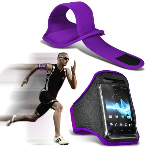 Blackberry Z3 Universal Sport Armbänder mit dem Fahrrad Radfahren Fitnessstudio Joggen abzugewöhnen Armband Case Cover (lila) von Fone-Case