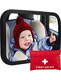 Baby Car Mirror for Back Seat | View Rear Facing Infant in Backseat | CRASH TESTED Best Newborn Safety Secure Double-Strap | FREE Cleaning Cloth & eBook | Lifetime Warranty | Baby Shower Gift Box BOBEBE Online Baby Store From New York to Miami and Los Angeles