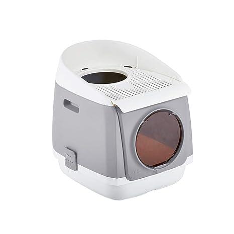 Bandeja Gatos Encapuchado Caja Adjunto Lavabo Interior Bote Baño Cazuela Puerta Doble Anti-Salpicaduras Desodorante