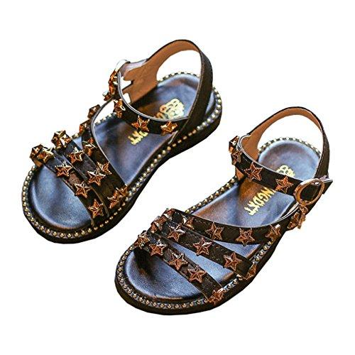 Black Star Shoes - lakiolins Toddler Girls Stars Straps Open Toe Glitter Gladiator Sandals Princess Flat Shoe Black Size 22
