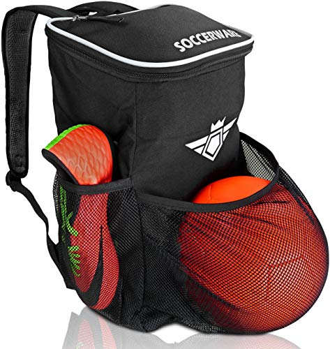 Soccer Backpack with Ball Holder Compartment - for Boys & Girls | Bag Fits All Soccer Equipment & Gym Gear (Black)