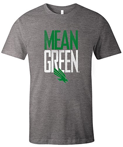 - Image One NCAA North Texas Mean Green Dotted Phrase Short Sleeve Triblend T-Shirt, Large,Grey