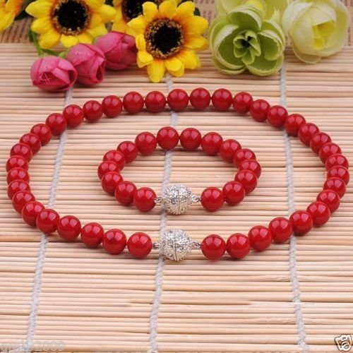 Sea Coral Bracelet - 8MM GENUINE CORAL RED SOUTH SEA SHELL PEARL NECKLACE BRACELET JEWELRY SET 18''