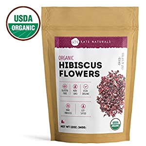Organic Hibiscus Flowers by Kate Naturals. Dried, Cut & Sifted. Perfect for Tea and Syrup. Delicious Taste and Rich Flavor. Large Resealable Bag. 1-Year Guarantee (12oz). 2