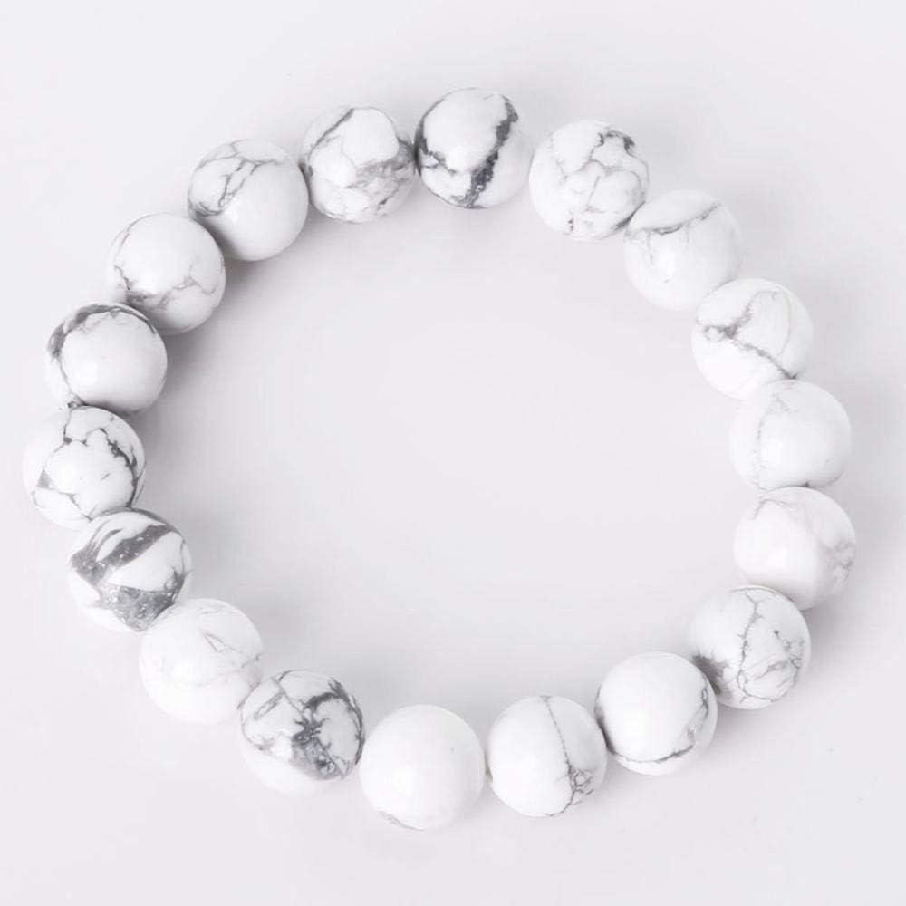 XIANNU Pulseras para Mujer,Charm Bracelet con Piedra Natural Beads Abalorios Pulsera para Hombre Mujer Joyas Mejor Amigo Don Blanco