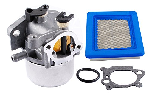 (Podoy 799866 Carburetor 491588 Air Filter with Gasket & Ring Kit for Briggs & Stratton Lawnmower Replaces 796707 794304)