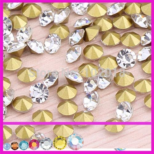 Pukido ss0 ss1 ss2 to ss20 ss30 ss28 ss38 Size Cristal Stones Point Back Rhinestones chatons Crystal Color for Jewelry Making - (Color: ss29 288pcs) (Crystal Point Back Rhinestone)