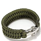 Survival Paracord Bracelet, TRENDINAO New Survival Rope Paracord Bracelet Outdoor Camping Hiking Steel Shackle Buckle (Army Green)