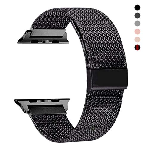 RXCOO Compatible for Watch Band 38mm/40mm 42mm/44mm, Stainless Steel Mesh Wristband Loop Magnet Band Compatible with Iwatch Series 4/3/2/1 (Black, 42mm/44mm) (5 For Strap Loop Ipod)