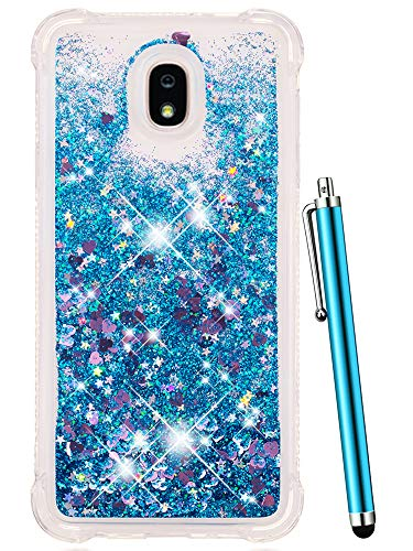 (CAIYUNL Glitter Case for Galaxy J3 Achieve / J3 2018 / J3 Star/Express Prime 3 / J3 Orbit/Amp Prime 3 Liquid Sparkle Bling Floating Flowing Clear TPU Protective Women Men Luxury Phone Case -Blue)