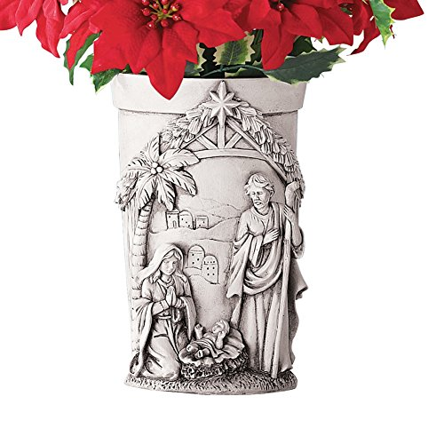 - Collections Etc Nativity Christmas Memorial Vase Grave Decoration for Flowers
