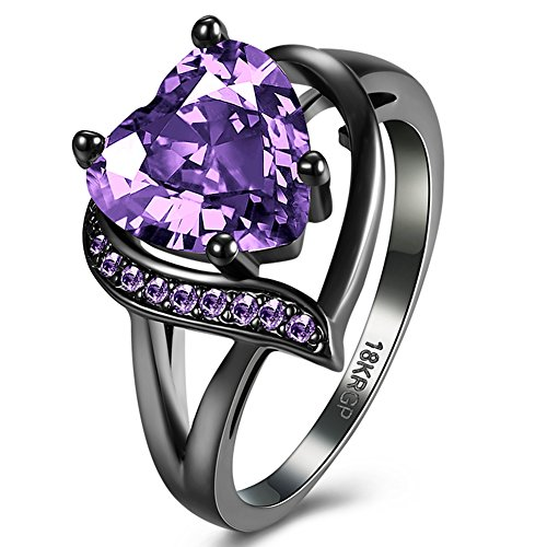 [FENDINA Black Gold 18K Wedding Ring Heart Emerald Dark Purple Amethyst Inlay Fashion Ruby CZ Created Ring Engagement, Size] (Australian Party Costume Ideas)
