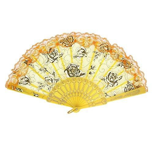 eDealMax Tessuto di Stile spagnolo del Modello Della Rosa del partito di ballo pieghevole Mano Fan Arancione