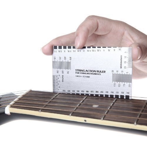 Amtake Stainless Steel Guitar String Action Ruler Gauge Tool,Double Sided Multi Function Guitar Luthier Accurate String Measurement for Electric Bass and Acoustic - Bass Luthiers Guitar