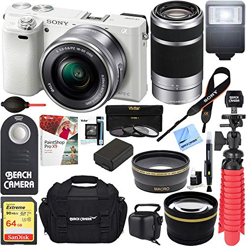 Sony Alpha a6000 24MP Mirrorless Camera 16-50mm & 55-210mm Zoom Lens (White) + 64GB Accessory Bundle + Deluxe Gadget Bag + Extra Battery+Wide Angle Lens+2X Telephoto Lens+Flash+Remote+Tripod