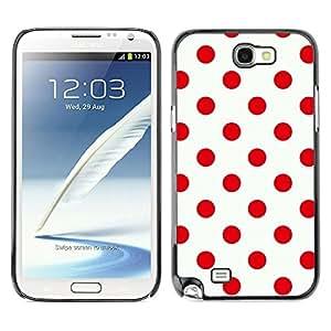 For SAMSUNG Galaxy Note 2 II / N7100 Case , Red Design Polka Dot Pattern Clean - Diseño Patrón Teléfono Caso Cubierta Case Bumper Duro Protección Case Cover Funda