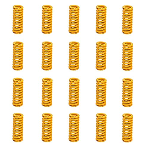 8mm OD 20mm Long Light Load Compression Mould Die Spring Yellow 20pcs ()
