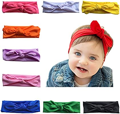 Baby Girls  Bow Soft Skinny Elastic Nylon Headband Hair Accessories Navy Blue